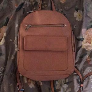 Pink Faux Suede Backpack